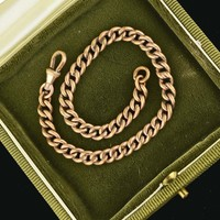 Antique EdwardianPocket Watch Curb Chain Bracelet