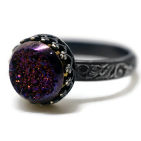 Purple Druzy Agate Ring, Blackened Silver Ring, Gothic Druzy Ring, Druzy Jewelry, Purple and Black Cocktail Ring