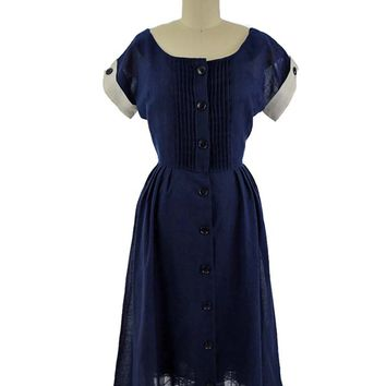 50s Navy Blue Semi Sheer Shirtwaist Midi Dress-S