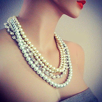 Chunky Pearl Rhinestone Necklace, Wedding Pearl Necklace, Brida Pearl Jewelry Bib Statement