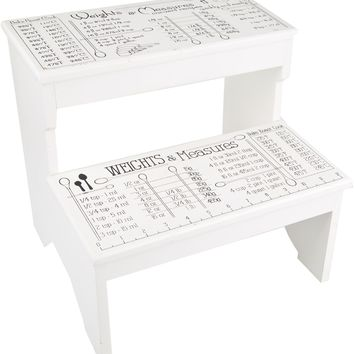 Weights and Measures, White 2 Step Decorative Wood Step Stool