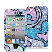 Blue Water Hearts Bling Rhinestone Diamond Snap-On Hard Sking Case Cover for Apple Ipod Touch iTouch 4th Generation Gen 4g 4 8gb 32gb 64gb New By Electromaster