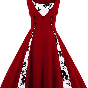 Atomic Wine Red Buttoned Floral Cocktail Dress