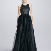 Carter Leather-Top T-Back Gown
