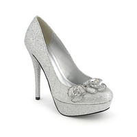 Delicious Gady-H silver platform high heel glitter dress shoe