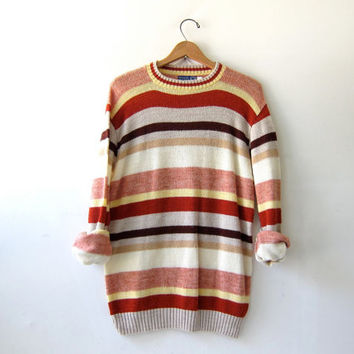 20% OFF SALE...vintage striped sweater. boyfriend sweater. fall colors pullover.