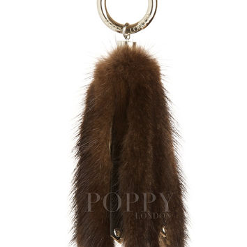Mink Fur Keyring Brown