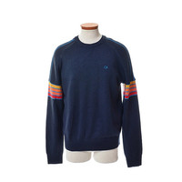 Vintage 80s OP Rainbow Ski Sweater 1980s Ocean Pacific New Wave Hipster Skiwear Ski Knit Sweater / Size L / Mens Womens Unisex