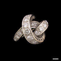 14 Karat White Gold Diamond Ring Vintage 1970s