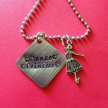 Handstamped Dance Princess necklace. Dance jewelry. Dance necklace. Personalized jewelry.