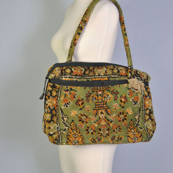 Oversized Bag 60s Large Oversized Carpetbag Tote Large Weekender Luggage Olive Green Woven Carpet Bag Purse