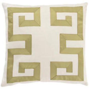 Ivory and Olive Greek Key Decorative Pillow