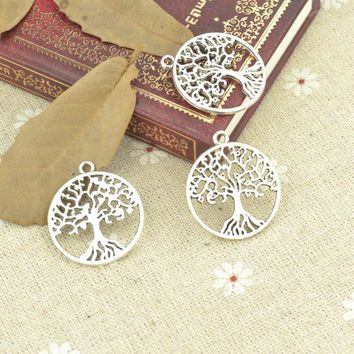 10pcs alloy Tibetan Silver Plated Tree of life Charms Pendants for Jewelry Making DIY Handmade Craft 29*26mm 21112