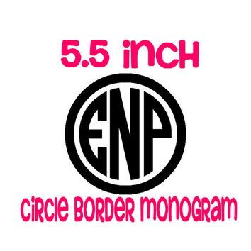 5.5 inch Circle Border Monogram Decal  - Custom Monogrammed Sticker for Car, Laptop, Tablet, Notebook, DIY Projects