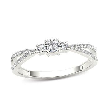 1/4 CT. T.W. Diamond Three Stone Split Shank Engagement Ring in 14K White Gold