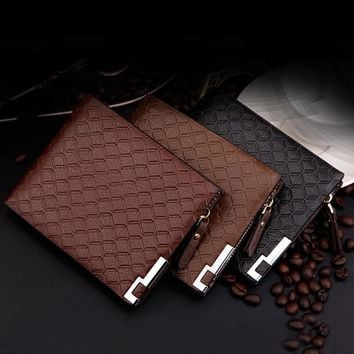 New Multifunction Man Wallets PU Leather Zipper Business Wallet Card Holder Pocket Purse Plaid Pounch Fashion Popular