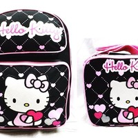 """Hello Kitty Girls 16"""" Canvas Black & Pink School Backpack w/Insulated Lunch Bag"""