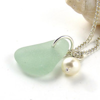 Sea Glass and Freshwater Pearl Necklace