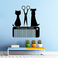 Grooming Salon Wall Decal Pet Shop Vinyl Sticker Decals Dog Comb Scissors Grooming Salon Decor Interior Window Decal Art Murals