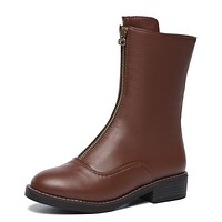 Pu Leather Mid Calf Boots Winter Shoes for Woman 7538
