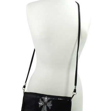 Rockabilly Beauty Sequin Beaded Foldover Glass Crystal Cross Crossbody Bag