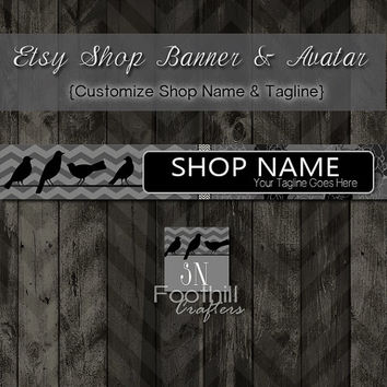 Etsy Banner and Matching Avatar, Premade, Birds On A Wire, Black and Gray Chevron Pattern, Customize Shop Name and Tagline, Graphic Design