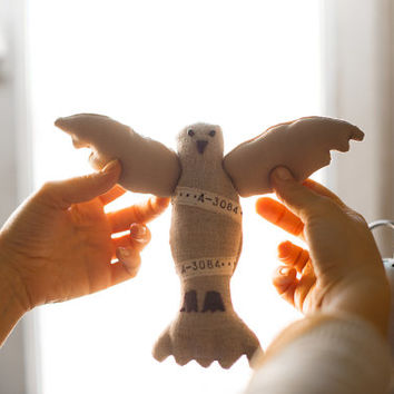 Beige  Postal pigeon with the customized message , love, save the date, personalized, soft art toy by Wassupbrothers