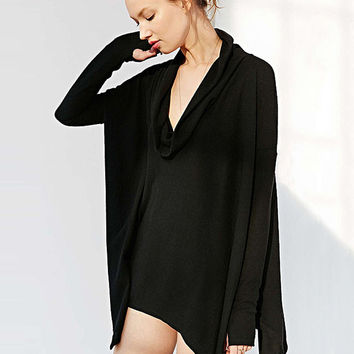 Black Long Sleeve Cowl Neckline Poncho
