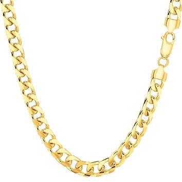 """14k Yellow Solid Gold Miami Cuban Link Chain Mens Bracelet, 5mm, 8.5"""""""