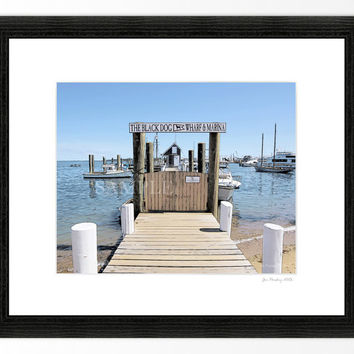 Black Dog Wharf and Marina at Vineyard Haven Martha's Vineyard, 8x10 print in 11x14 mat, signed