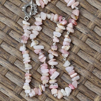 Pink Opal Necklace ~ Rose Coloured Chip Stones ~ Natural Irregular Stones ~ Healing ~ Wedding Wear ~ Prom ~ Birthday Gift ~ Anniversary