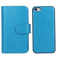 Detachable 2 in 1 Side Flip Crazy Horse Magnetic PC+PU Leather Case for iPhone 5 5 S (Blue)