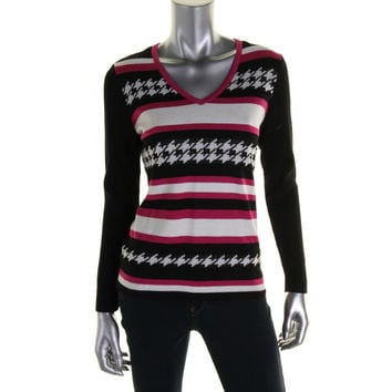 Jones New York Womens Houndstooth Ribbed Knit Pullover Sweater