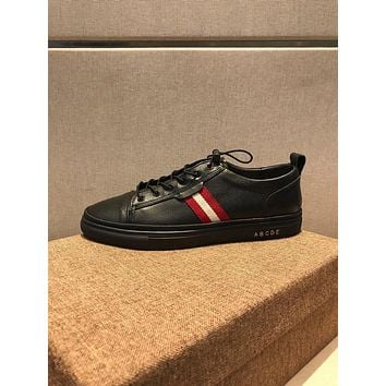 Bally Helvio Men's Leather Trainer In Black Sneakers Shoes - Sale