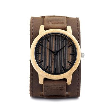 Unique Light Bamboo Wooden Watches Mens Quartz Outdoor Sport Watches Clock With Leather Strap Relojes Hombre
