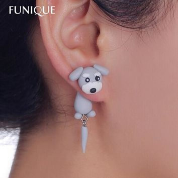 FUNIQUE Handmade Cute Lovely Schnauzer Dog Earrings With tail polymer Clay Stud Earrings Women ear Jewelry Animal Earrings