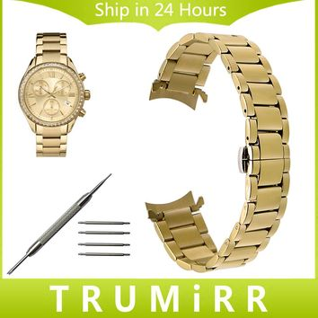 Stainless Steel Watchband Curved End Strap for Timex Men Women Watch Band Wrist Bracelet Gold Black 14mm 16mm 18mm 20mm 22mm