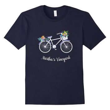 Martha's Vineyard Island Floral Bicycle T Shirt Bike Vacay