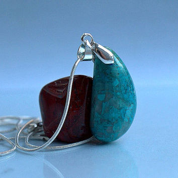 Blue Chrysocolla Peruvian mineral free form pendant the stone of harmony with necklace