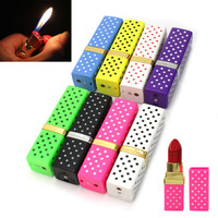 Fashion Novelty Lipstick Shape Flame Lighters Refillable Butane Gas Cigarette Lighter 2017 New Creative Gift Gadget