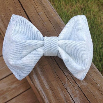 Light Wash Bleached Denim Hair Bow by DenimAndStuds on Etsy