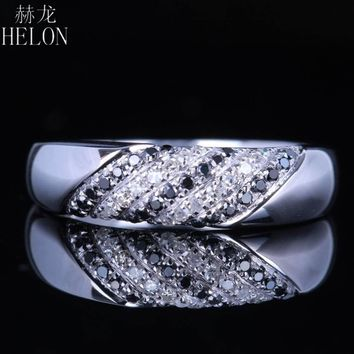 HELON Women's 10KT White Gold Pave Diamond & Black Diamond Wedding Band