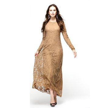 Hot Vintage Women Wear Lace Long Sleeve Maxi Dress Kaftan Abaya Islamic Muslim