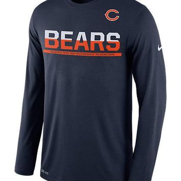 Nike Chicago Bears Men's Dri-Fit Long-Sleeve Navy Practice Shirt- Large & Medium