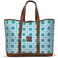 The St. Charles Yacht Tote - Turquoise Blue and Steel Grey - Sororities - Barrington Gifts