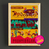 Vintage Disnyland Attraction Poster Frontierland Stage Coach Ride Print Home Wall Decor Gift Linen Print - Buy 2 Get 1 FREE - 357s2g