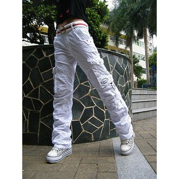 Holiday sale Wholewomen's new 100% cotton classic casual baggy cargo pants long trousers 2803