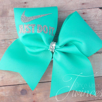 7ad9224db20c Cheer Bow - Aqua cheer bow - cheer bows - Customized cheer bow