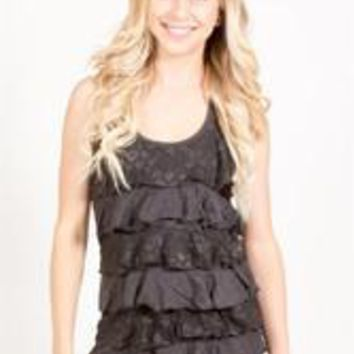 Lace Ruffle Front Tank Top - Charcoal - S