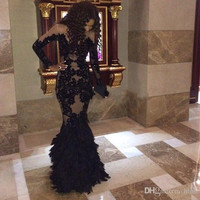 Luxury Plus Size Black Prom Dresses With Long Sleeves Sheer Mermaid Evening Gowns Real Tulle Formal Dresses Custom Made